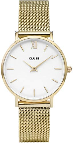 Cluse CL30010 Minuit - Reloj de malla para mujer (correa dorada)