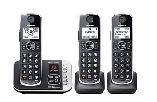 Panasonic Cordless Phone with Link to Cell and Digital Answering Machine, 3 Handsets - Black (KX-TGE663B) (Renewed)