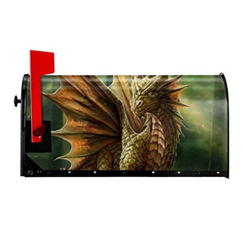 Odeletqweenry Anne Stokes Dragon Print Mailbox Cover Magnetic Mailbox Wraps Post Letter Box Cover Standard Size 21 x 18 Inches Waterproof Canvas Mailbox Cover