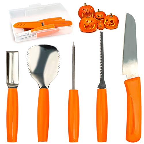 Pumpkin Carving Tools Set Halloween Pumpkin Carving kit Carving Knife Professional Stainless Steel Pumpkin Carving Tools Set with Food Carving Knife Baking Kitchen Knife ( 5PCS )