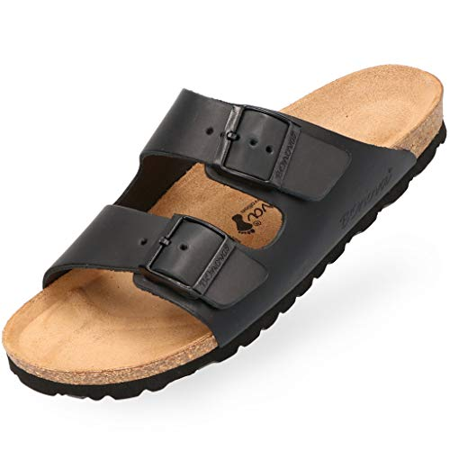 BOnova Schwanberg Echtleder Herren Pantolette in schwarz, Größe 41. Bequeme Hausschuhe aus Echtleder mit Kork-Fußbett - Sandalen hergestellt in der EU