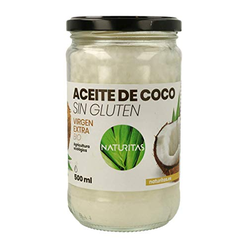 Naturitas Aceite de Coco | 500ml | Virgen extra | Bio | Efecto antibacteriano | Perfecto para cocinar | Hidratante de cabello y piel | Vitamina E | Apto para veganos | Sin gluten.