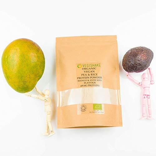 Organic Pea & Rice Protein Powder Mango & Avocado Flavour 49.4g Plant Protein Amino ECAA BCAA Complete Vegan (1kg Powder)