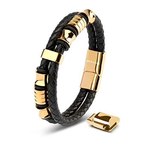 SERASAR | Pulsera de Cuero Premium para Hombre en Negro | Cerradura Magnética de Acero Inoxidable en Negro, Plata y Oro | Joyero Exclusivo | Gran Idea de Regalo