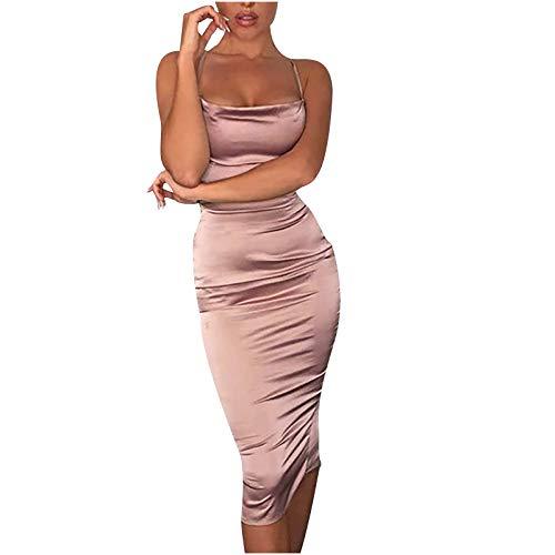 Hanomes Kleider Damen Minikleider Lange Elegant Abendkleider Rückenfreies Bodycon Kleid Spaghetti Strap Partykleider Schlinge Einfarbiges sexy Kleid Cocktailkleid