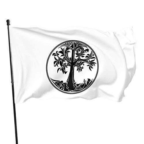 WH-CLA Bandera del Jardin Yggdrasil Árbol De La Vida Actividades Al Aire Libre Festival En Casa Patio Trasero 150X90 Cm Banners De Pared Impresión De Decoración Toda La Temporada Bandera