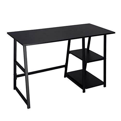 WOLTU® Schreibtisch TSG25sz Computertisch Bürotisch Arbeitstisch PC Laptop Tisch, mit 2 Ablagen, aus MDF und Stahl, 120x50x73cm(BxTxH)