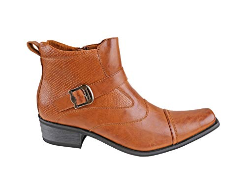 Delli Aldo Men's Ankle High Dress Boots | Buckle Strap | Shoes | Black 9.5