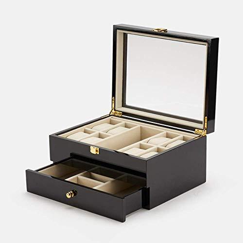 DXX-HR Caja elemento de almacenamiento Negro de múltiples capas de madera de pino joyería Relojes Gafas de los pendientes del collar de almacenamiento neceser de la mujer del hombre de bloqueo regalo