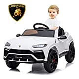 SEGMART Kids Electric Ride-on Car, Licensed Lamborghini Urus Ride-on Motorized Car for Kids, 12v Remote Control Electric Vehicle Toys for 3+yr Boys Girls, w/Remote/Music Player/Lighting, White