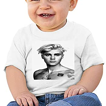 Jus_tin Bieber Unisex Comfortable and Breathable Skin-Friendly Baby Short-Sleeved T-Shirt Toddler Tee White 12 Months