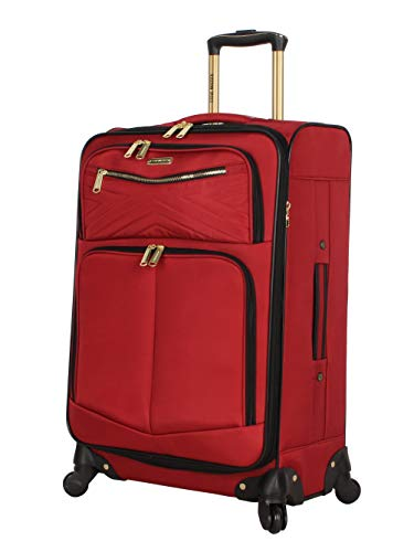 Steve Madden Designer Luggage Collection - Lightweight 24 Inch Expandable Softside Suitcase - Mid-size Rolling 4-Spinner Wheels Checked Bag (Rockstar Red)