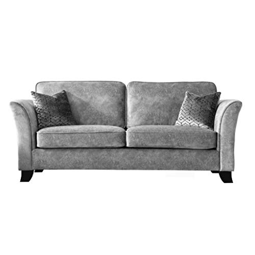 Roseland Furniture - Vivien Grey Faux Leather Sofa for Living Room - 2 Seater - 3 Seater Upholstered Mottled Fabric Couch (3 Seater Sofa)