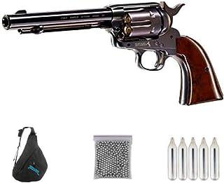 Colt SAA Armmy 45 Pavon 5,5″   Pack Pistola de balines (perdigones Bolas de Acero BB's) Arma de Aire comprimido CO2 Calibre 4,5mm <3,5J