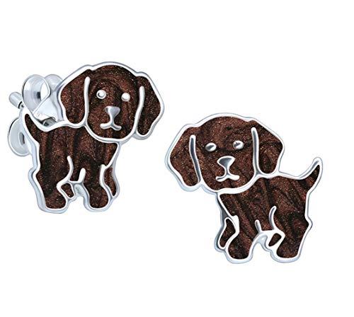 Katy Craig, pendientes de plata de ley con diseño de labrador marrón para perros, regalo para amantes de los perros