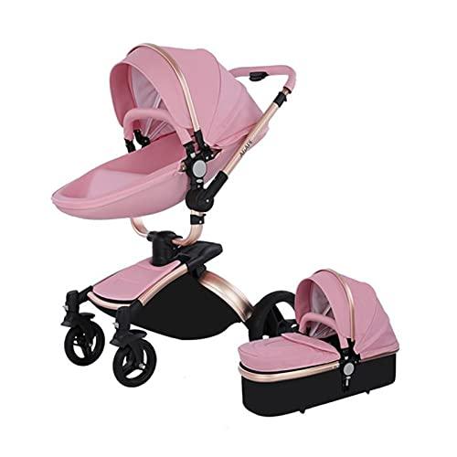 Sillas de paseo Cochecito de bebé 2 en 1 Triciclo Baby Walker Cochecito de alto paisaje Cochecitos plegables Carrito de bebé para bebé 0-36 meses (Rosa 2 en 1)