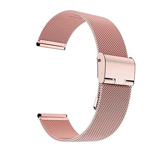 ZXF Correa de reloj de 22 mm y 20 mm de acero inoxidable con hebilla plegable y correa de malla (color de la correa: rosa, ancho de la correa: 22 mm)