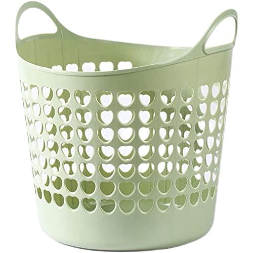 Lenio 517996 40l Suave grande Cesto para Ropa Sucia plastico,redondo cestas para la colada,juguetes ropa cesto almacenaje,cestos y cubos (Té verde)