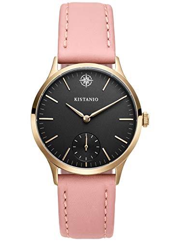 Kistanio dameshorloge Stratolia saffierglas champagne zwart met roze lederen band KIS-STR-31-033