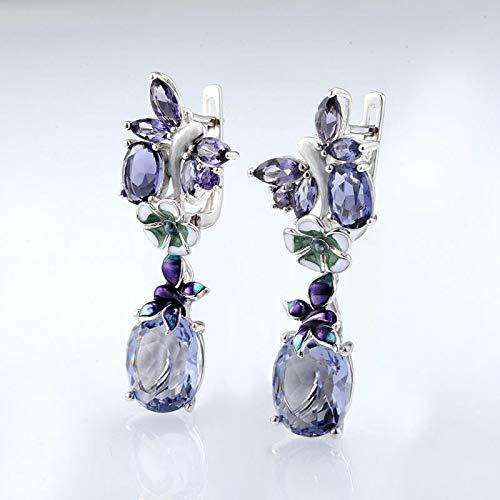 yqs Pendientes Pendientes Colgantes de Lujo Bohemia Esmalte para Mujeres púrpura Cristal Floral patrón Gotas Pendientes Elegante Banquete joyería