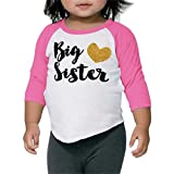 Baby Girl Outfit Big Sister Shirt Pregnancy Announcement Photo Prop (6T Pink Sleeves)