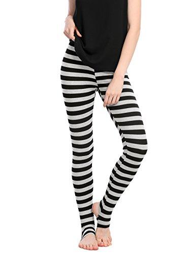 Allegra K Damen Elastisch Hosenbund Stirrup Streifen Leggings Hose Schwarz XL