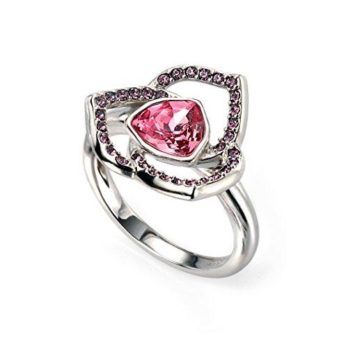 Elements Silver - Anello in argento con cristallo, rosa, 18 3/8