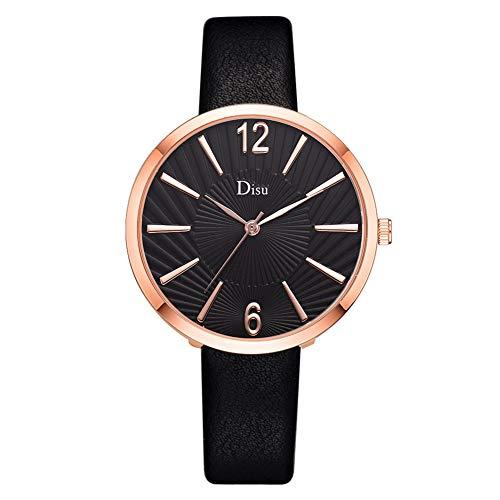 SMBYLL Reloj De Aleación Personalizado Cinturón De Cuero Artificial Reloj De Pulsera De Cuarzo Elegante Femenino (Negro)