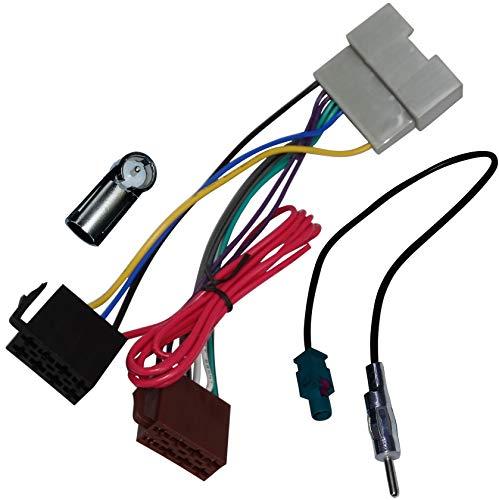 AERZETIX - Kit de Montaje de Radio de Coche estándar - Cable Enchufe de alimentación - Adaptadores de Antena - C10017A