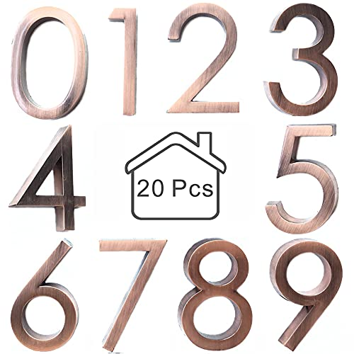 Diggoo 20 Pack Classic Style Mailbox Numbers 0-9, 2.37 Inch High, Door Address Numbers Stickers for Apartment, House, Room, Office, Cars, Trucks, Bronze Plating Process Number Sign