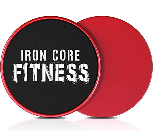 2 x Dual Sided Gliding Discs Core Sliders by Iron Core Fitness   Ultimate Core Trainer   Gym, Home Abdominal & Total Body Workout Equipment   for use on All Surfaces