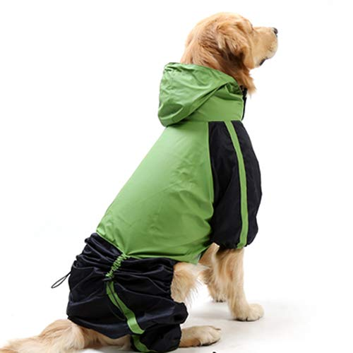 Full Body Large Dog Raincoat Waterproof Dog Poncho Jacket with Adjustable Belly Strap and Leash Hole, Hoodie Lightweight Rainwear Fashion Windbreaker for Medium Large Dogs (Green, L-L)