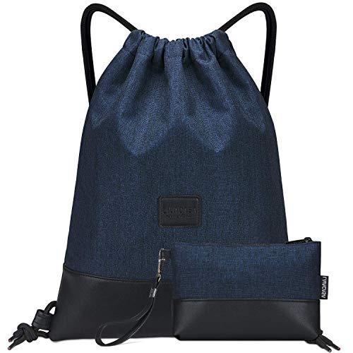 LIVACASA Mochilas de Cuerdas Unisex Casual Mochilas Cordón Impermeable Gimnasio Deporte Ligero Gym Bag (Azul Oscuro(con Bolsa), 43×33cm)