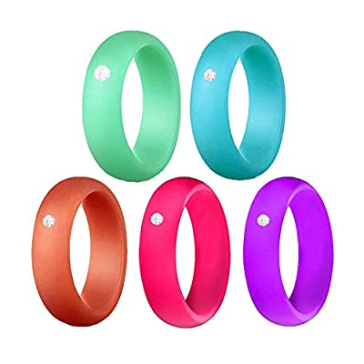 SMALLLOVE Silicone Ring for Women with Rhinestone,5 Rings Thin 6mm Wedding Bands,Size 4 5 6 7 8 9 10, Stackable Rubber (9)