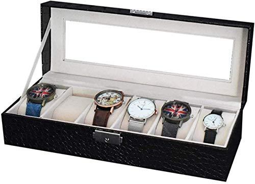 Cajas de Reloj Caja de Reloj, Caja de Reloj de Cuero Caja de Almacenamiento de Exhibición de Joyería con Tapa de Vidrio y Almohada de Almacenamiento de Extracción Para El Hogar de La Tienda,Black