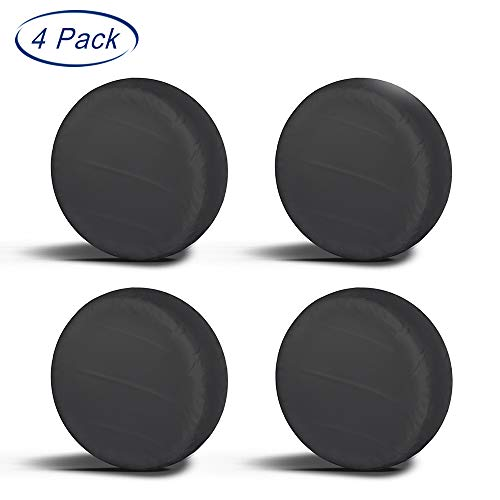 """Aebitsry Tire Covers for RV Wheel, (4 Pack) Motorhome Wheel Covers Waterproof Oxford Sun UV Tires Protector for Trailer, Camper,Universal Fits 24"""" to 32"""" Car Tire Diameter (Black, 30-32)"""