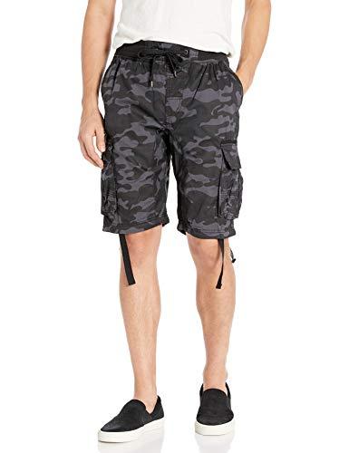 SOUTHPOLE Pantalones Cortos para Hombre con Bolsillos Cargo en Colores sólidos y camuflados, Gris Negro (Nuevo), Large
