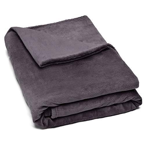 Beautissu weiche Kuscheldecke 220x240 cm – Warme XXL Mikrofaser Fleecedecke – Flauschige Wolldecke Anthrazit - Decke für Sofa, Couch, Tagedecke oder Überwurf – Aurelia