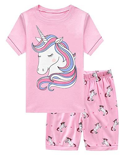 Little Hand Mädchen Schlafanzug Kurz Girls Pyjamas Shorts Einhorn Kinder Sommer Schlafanzug Sets 104 Pink
