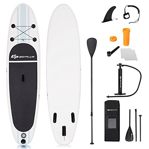 Goplus Tavola da Surf Gonfiabile Surfboard Tavola da Surf con Pagaia Regolabile, Pompa, Borsa e Pinne, Carico Fino a 200kg, 305x76x15cm