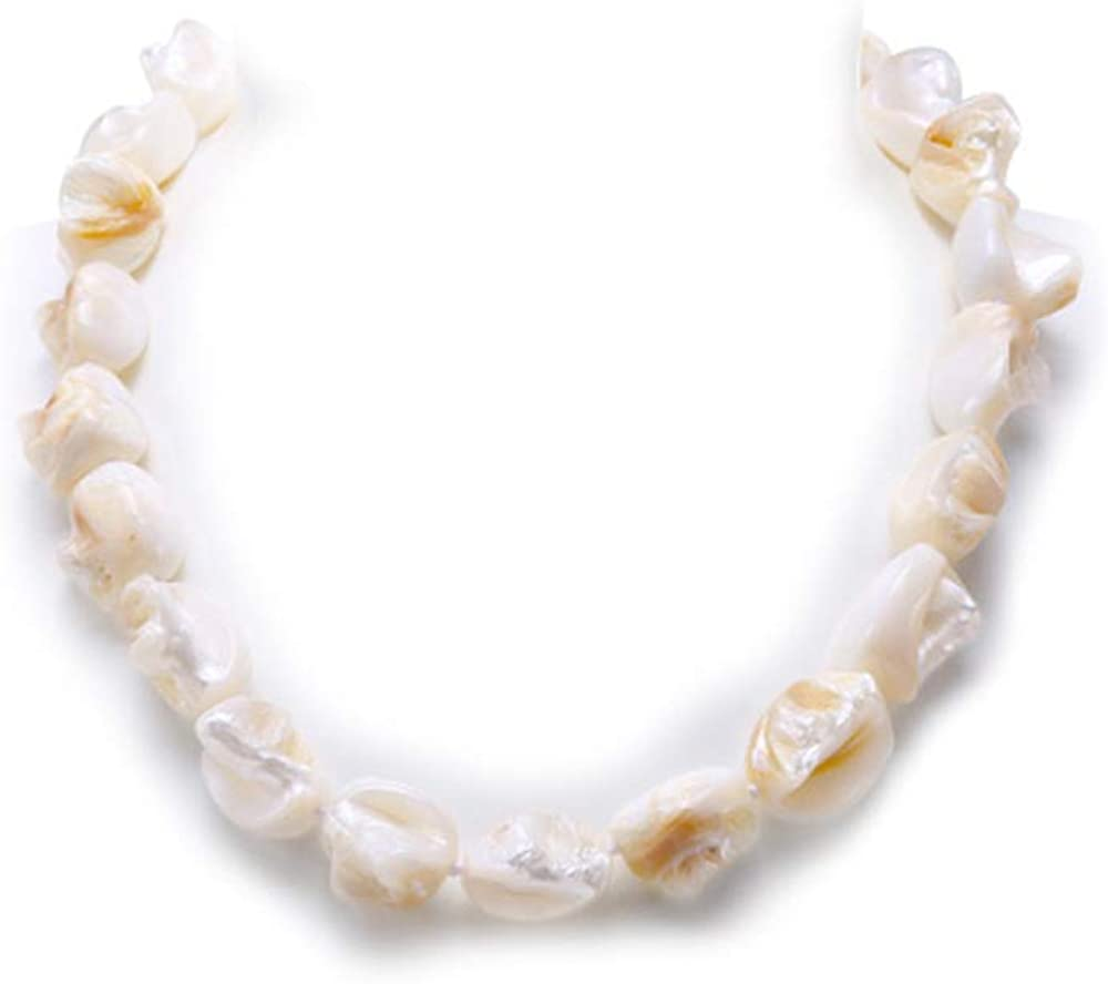 JYX Pearl Stylish Necklace 14x17mm Natural Irregular Shellpearl Necklace Strand 19