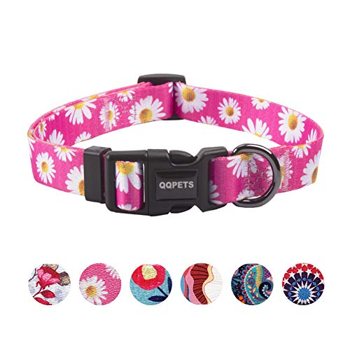 QQPETS Dog Collar Personalized Soft Comfortable Adjustable Collars for Small Medium Large Dogs Outdoor Training Walking Running (M, Little Daisies)