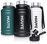 MUUVE® 2L | 1,3L Edelstahl Trinkflasche - 2 Deckel - Bürste - Auslaufsicher, BPA Frei, Kohlensäure Geeignet | Water Jug für Fitness, Sport, Gym (Schwarz, 1,3 Liter)