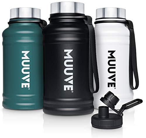 MUUVE® 2L   1,3L Edelstahl Trinkflasche - 2 Deckel - Bürste - Auslaufsicher, BPA Frei, Kohlensäure Geeignet   Water Jug für Fitness, Sport, Gym (Weiß 1,3L, 1,3 Liter)