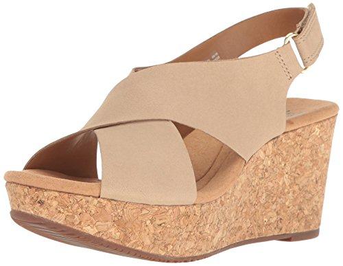 Clarks Women's Annadel Eirwyn Wedge Sandal, Sand, 6 M US