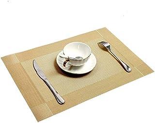 Set De Table 6 / 4PCS Set de table en or lavable PVC Table à manger Tapis Diagonal Cadre Dissique Tabou à taches Coaster T...
