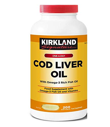 Kirkland Signature Cod Liver Oil with Omega 3 Fish 1150mg Vitamin - Pack of 2 x 200 Capsules