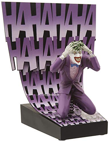 "Size: Standard Birth of the Joker Premium Motion Statue 4.5"" tall Joker figure is spring-mounted on base Base is approx. 5"" square w/ 6"" high backdrop Officially licensed"