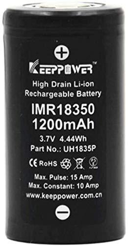 Batería de Litio 18350 1200mAh 3.7V 10A Descarga para Linterna LED o Equipo electrónico Batería plana-2PCS-PC 1