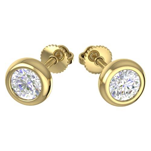 Triostar Pendientes de tuerca de diamante de moissanita real de 0,80 quilates, con bisel redondo, oro amarillo de 14 quilates sobre plata de ley 925 para hombre y mujer